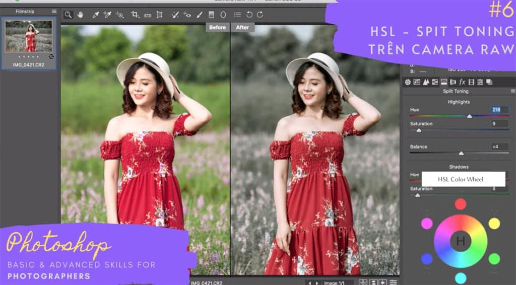 chỉnh màu với HSL Split Toning Camera Raw Photoshop